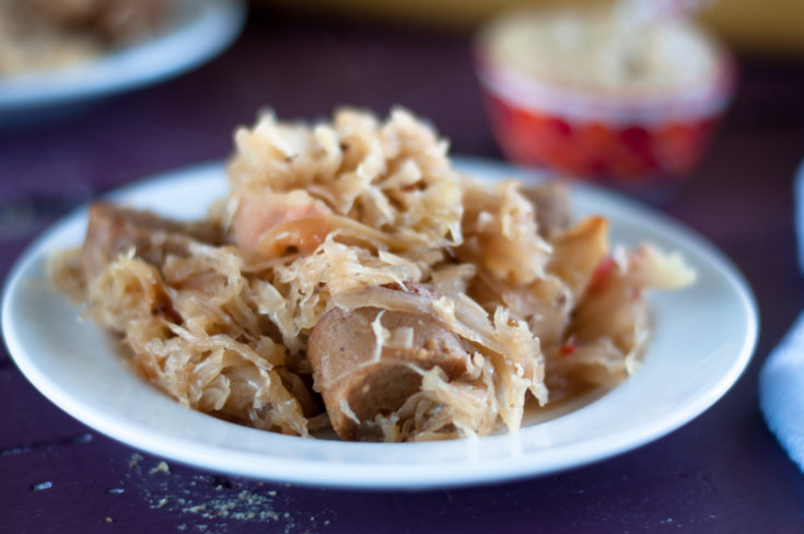 Vegan Sauerkraut and Bratwurst Casserole