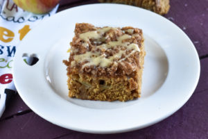 This light, fluffy Vegan Apple Cake topped with cinnamon sugar is the perfect cake for fall!