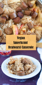 This Vegan Sauerkraut and Bratwurst Casserole is a cozy casserole that is perfect for the cooler weather. It is loaded with vegan bratwurst sausages, onion, apples, and lots of sauerkraut! #vegan #vegetarian #casserole #dinner #sauerkraut #apples #dinner #entree