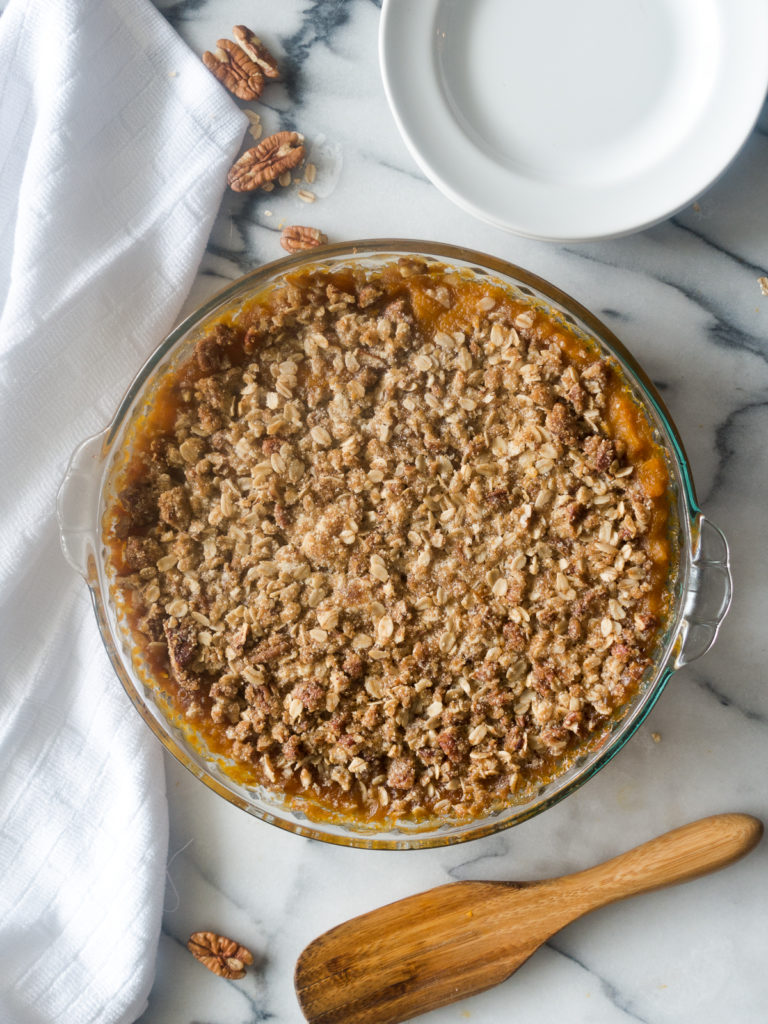 Butternut Squash Casserole is a healthier alternative to the classic holiday sweet potato casserole. It is sure to become a new family favorite!  #Thanksgiving #VeganThanksgiving #butternutsquash #casserole #holiday #recipes #food