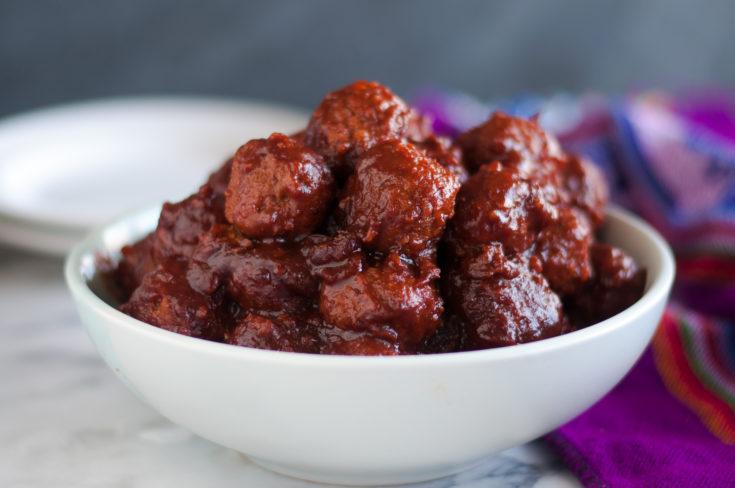 Slow Cooker Cranberry BBQ Vegan Meatballs