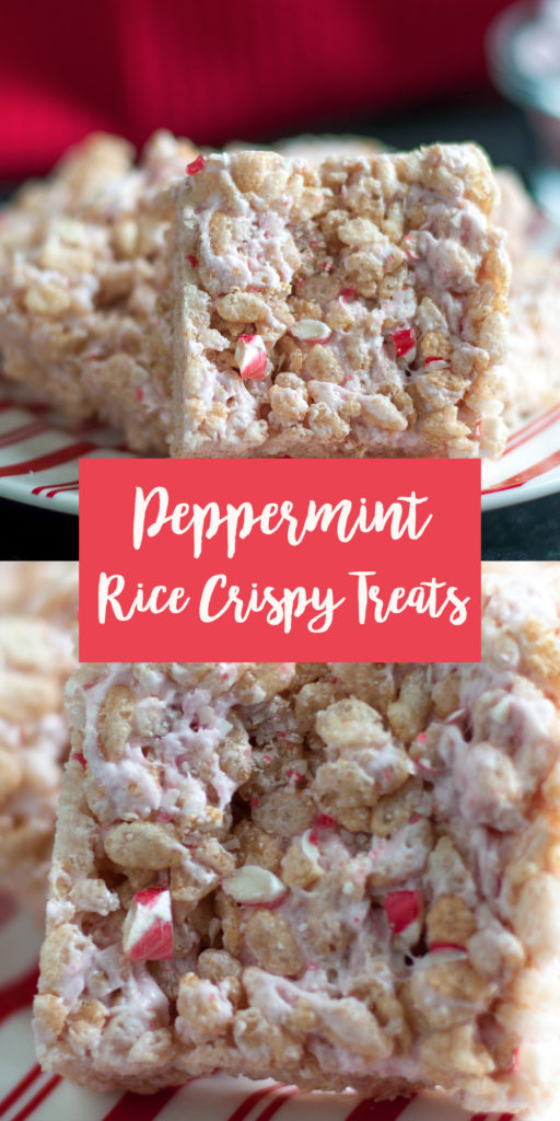 These Vegan Peppermint Rice Crispy Treats ware a festive treat that the whole family will love! The peppermint marshmallows are light pink color and add a nice touch of color to the rice crispy treat. Kids will just love these!  #treats #dessert #Christmas #holidays #vegan #dairyfree #festive #food #recipes #easyrecipes #sweetes #candy #candycanes #peppermint #cheerful #holidayfood #vegetarian #marshmallows