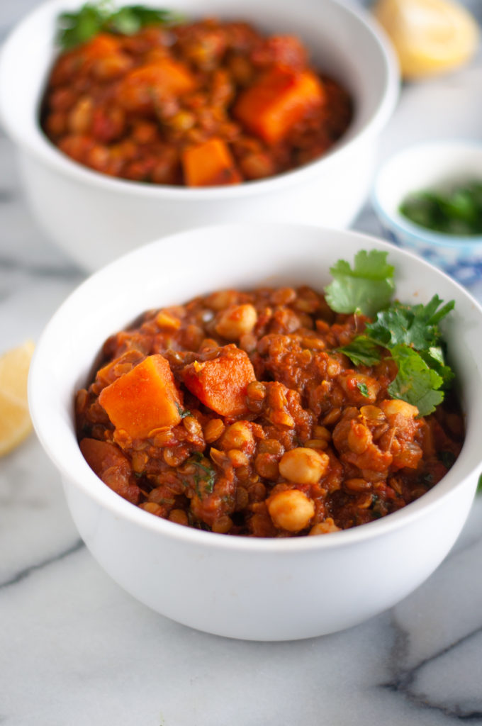 Sweet Potato Lentil and Chickpea Stew with warming spices is a protein packed stew perfect on a chilly night.  #vegan #stew #recipes #healthy #plantbased #wholefoods