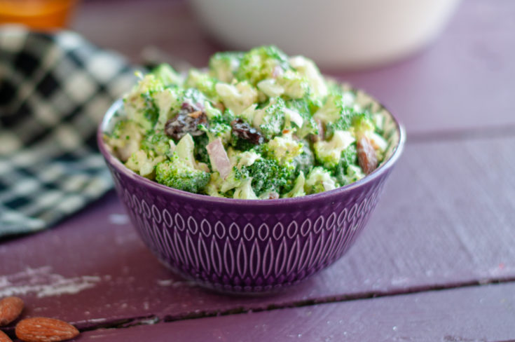 Vegan Broccoli Salad with Dried Cherries