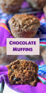 Moist, Chocolate Muffins that aren't too sweet from using dark chocolate chips. Perfect served for breakfast or for an afternoon treat! #muffins #vegan #dairyfree #yogurt #chocolate #breakfast #snack #kidfriendly #dessert #recipes #food