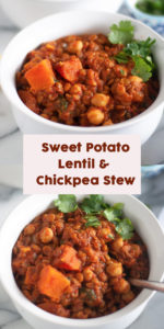 Sweet Potato Lentil and Chickpea Stew with warming spices is a protein packed stew perfect on a chilly night. A healthy stew recipe the family will love! #recipes #healthy #food #vegan #dinner #stew #sweetpotatoes #lentil #chickpeas #easyrecipes