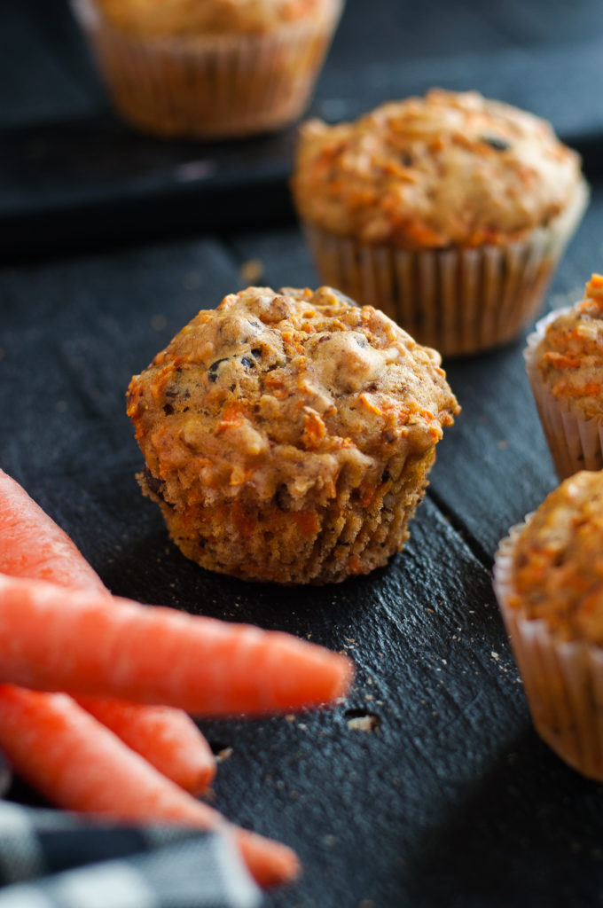 These muffins are full of carrots, raisins, and walnuts. Light and fluffy, these muffins are the perfect way to start that day. #muffins #vegan #dairyfree #recipes #breakfast #brunch #carrots #raisin #walnuts #food #veganrecipes #spring #baking