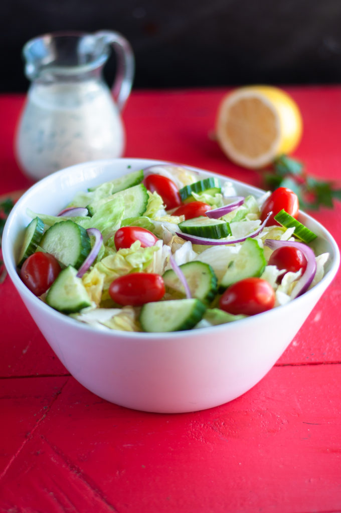 Simple garden salad served with a creamy vegan ranch dressing. #salad #vegan #dairyfree #recipes