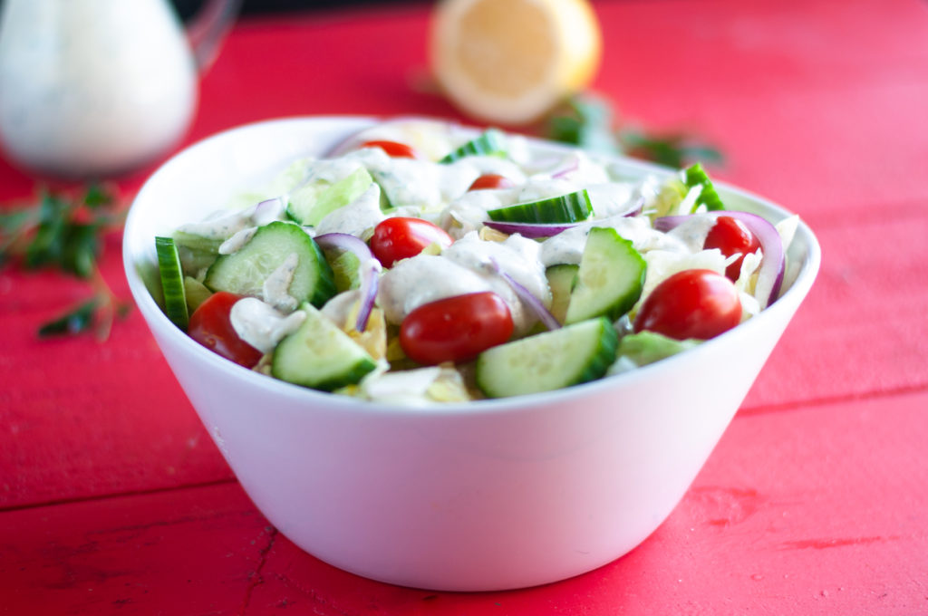 This Creamy Cashew Ranch Dressing is perfect on salads and for veggie dipping.