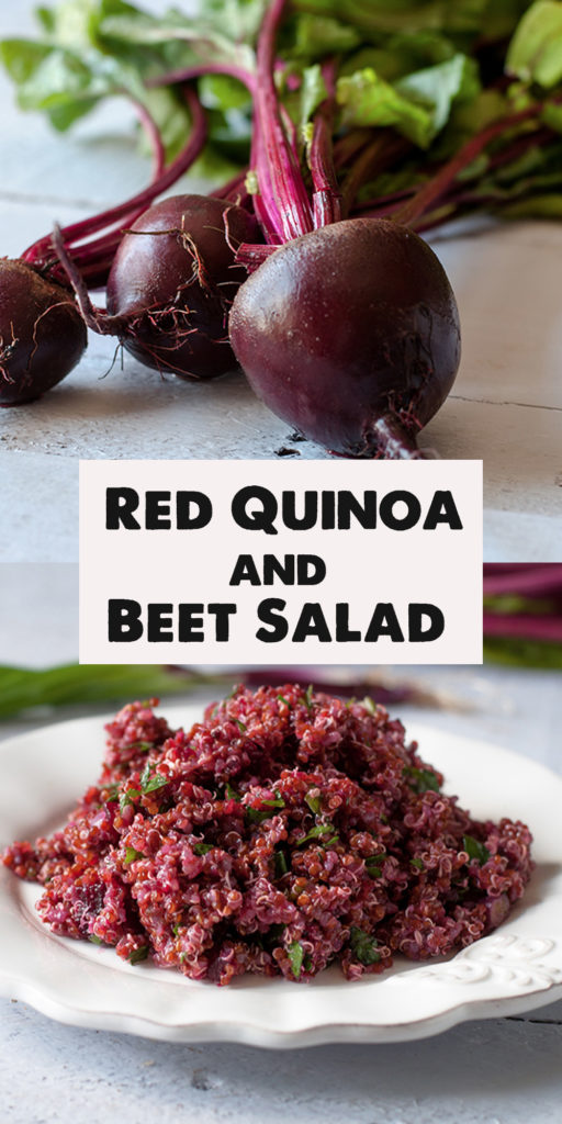 This Red Quinoa and Beet Salad is a great make ahead lunch. Perfect for any of you who like to meal prep on the weekends. #salad #beets #glutenfree #vegan #vegetarian #plantbased #redquinoa #healthy #food #recipes #mealprep #veganrecipes #quinoa