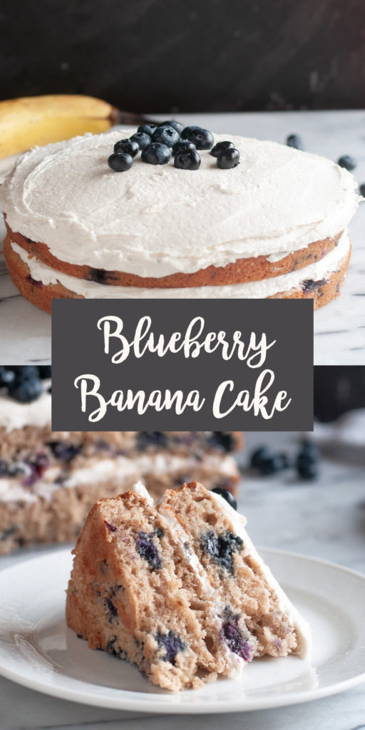This Vegan Blueberry Banana Cake is perfect if you find yourself with a few ripe bananas. The blueberries and banana flavors are perfect together! This cake would also be perfect for any springtime celebration!  #vegan #dessert #cake #blueberry #banana #veganrecipes #recipes #spring #summer #sweets #Easter #food #Party