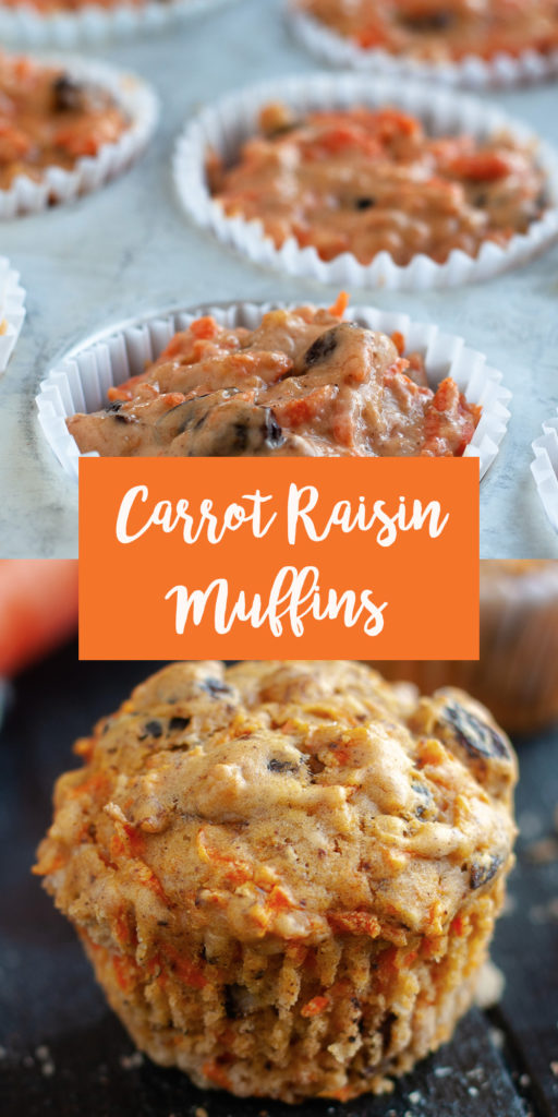 Carrot Raisin Muffins are loaded with shredded carrots, raisins and walnuts add nutty crunch. Muffins are a great served with a morning cup of coffee.  #breakfast #muffin #recipe #dairyfree #carrot #spring #easter #vegan #veganrecipes #brunch
