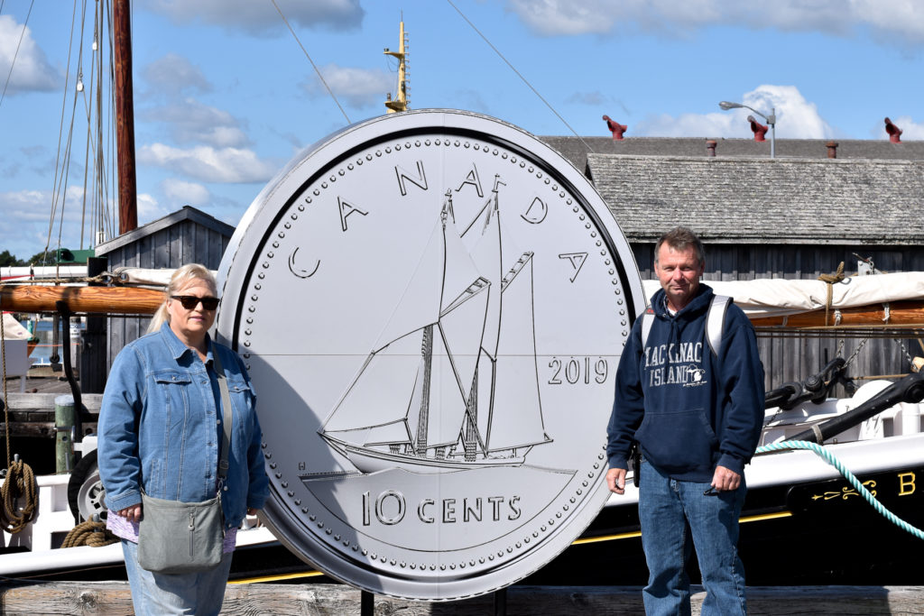 Since 1937, Bluenose has adorned the Canadian dime. It's also seen on three postage stamps, as well as the Nova Scotia license plate.