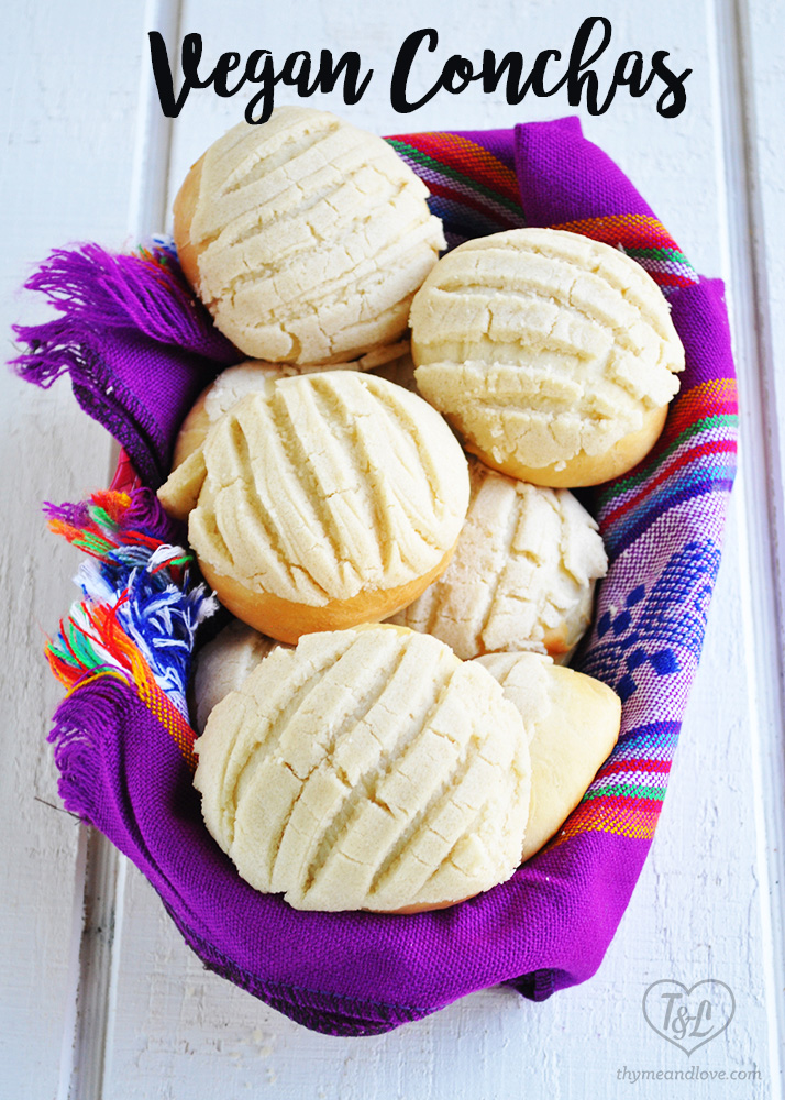 A classic Mexican Pan Dulce recipe for Conchas with a Vegan twist. Perfect for serving for breakfast with a cup of coffee. #Mexican #Vegan #pandule #conchas #dairyfree #bread #recipes #baking #sweets #breakfast #brunch