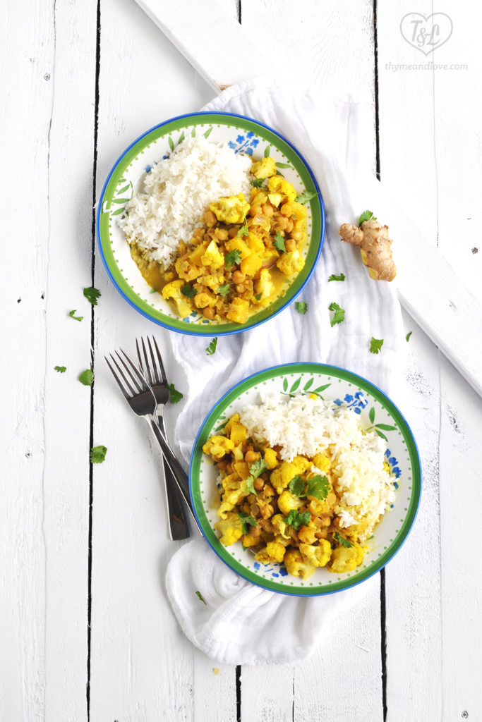 Easy, sweet + savory curry with chickpeas and cauliflower. Fresh pineapple adds a touch of sweetness. Easy enough for a weeknight dinner!