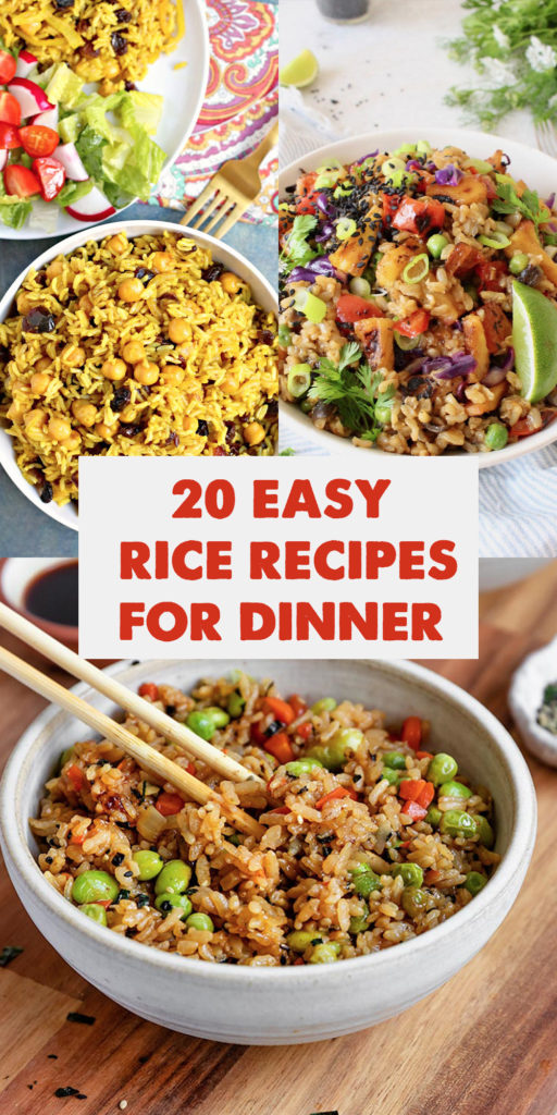 If you are on a budget or trying to incorporate more plant-based meals into your meal plan, these 20 Easy Rice Recipes for Dinner will inspire you! #rice #vegan #dinner #ricerecipes  #glutenfree #easyrecipes #food #vegetarian #healthy  #pantry #budgetfriendly #pantrystaples