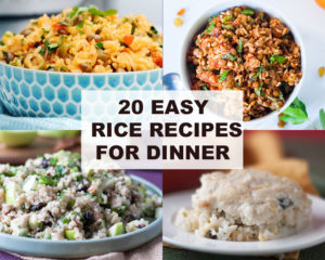Is your pantry stocked with rice, but you're not quite sure what to make with it? This round-up of 20 Easy Rice Recipes for Dinner, will show you 20 tasty rice dishes that are easy to make! #recipes #pantry #vegan #vegetarian #food #dinnerideas #plantbased #veganrecipes #easyrecipes #wholefoods #pantrystaples