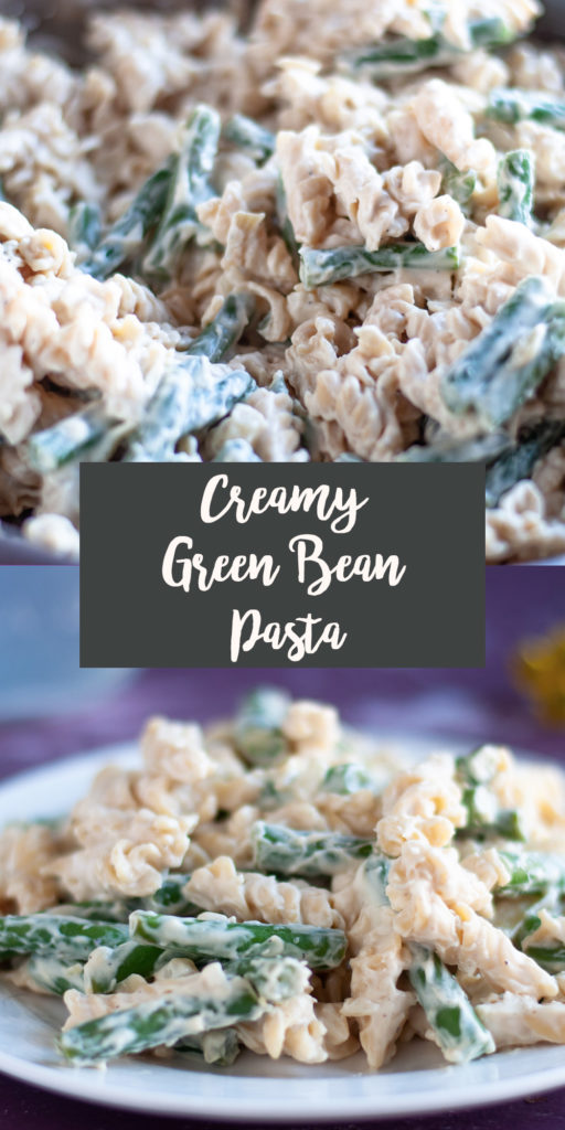 This rich creamy green bean pasta takes less than 30 minutes to cook! Perfect for when you're craving something a little more decedent for dinner.  #dinner #recipes #pasta #glutenfree #vegan #dairyfree #veganrecipes #greenbean #vegetarian