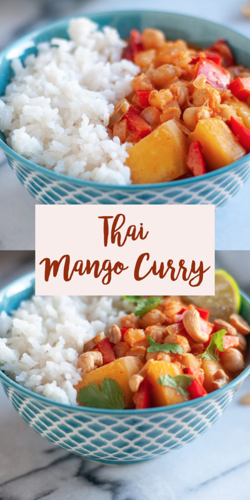 Infused with bright aromatics, this Thai Mango Curry is packed with flavor and perfect for an easy weeknight dinner. It's so easy to make homemade curry at home! #vegan #mango #curry #dinner #easyrecipes #glutenfree #vegetarian #chickpeas