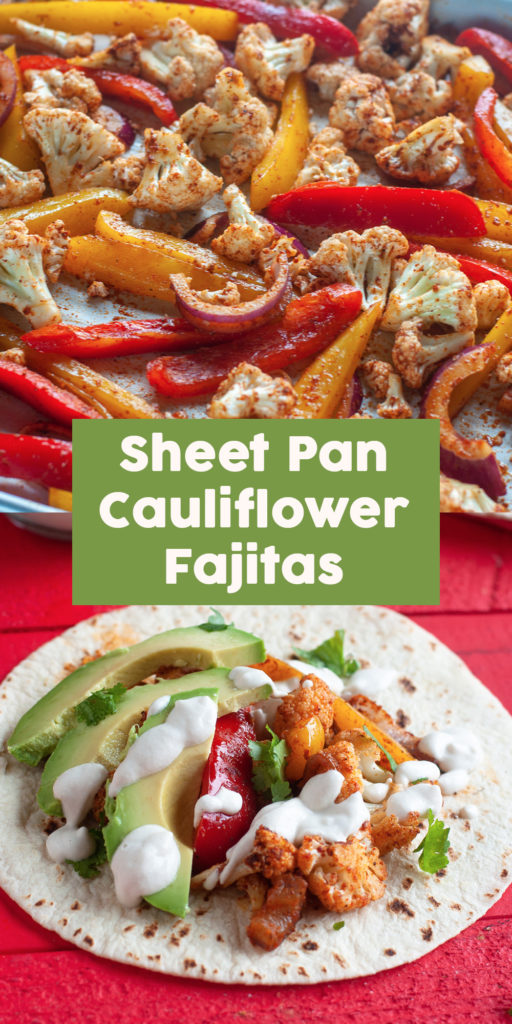 Looking for a quick and easy dinner recipe? You're going to love how easy it is to make these Vegan Sheet Pan Cauliflower Fajitas! These veggie fajitas are not only easy to make, but they are also healthy and delicious!  #vegan #fajitas #sheetpan #dinner #easyrecipes #cauliflower #recipes #healthyrecipes