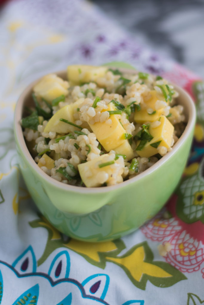 A hearty and satisfying whole grain salad with vegan cheddar cheese and apples.