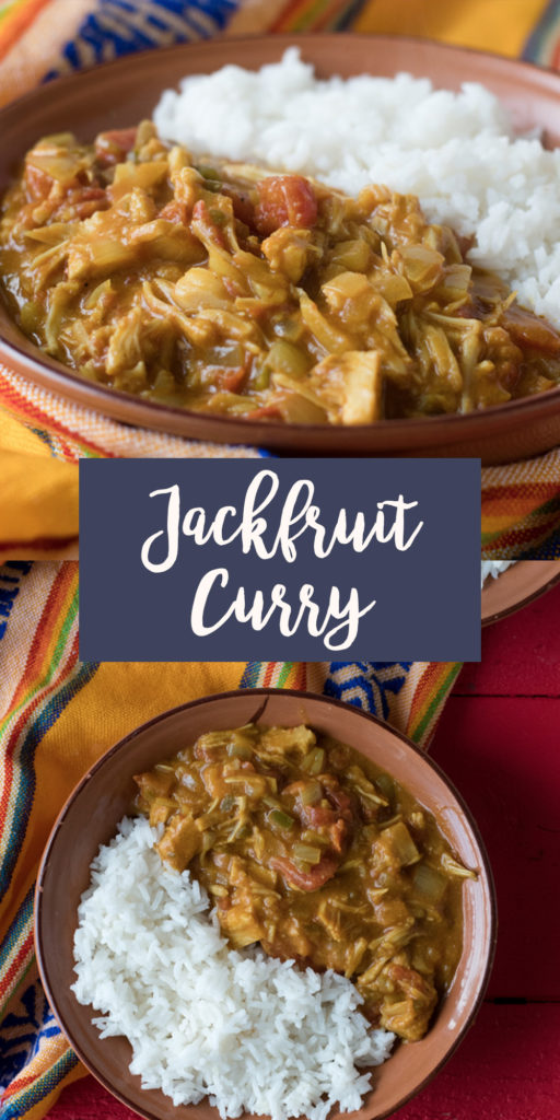 This Jackfruit Curry is an easy one-pot plant-based curry that is creamy, hearty and delicious! #curry #jackfruit #vegan #vegetarian #easyrecipes #recipes #veganrecipes #plantbased #dairyfree
