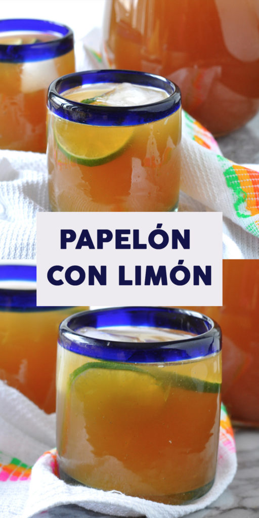 Papelón con Limón is a traditional Venezuelan cold beverage made just from three ingredients. The perfect refreshing beverage for a warm, sunny day! #drink #beverage #Venezuelan #summer #papelon #lime #vegan #dairyfree #recipes #LatinAmerican #traditionalrecipes #Venezeulanrecipes #