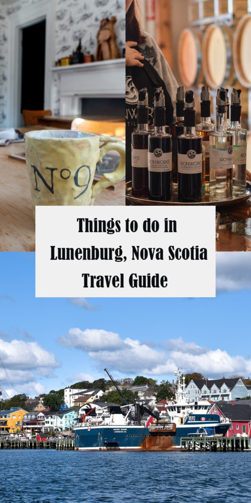 This Lunenburg, Nova Scotia Travel Guide will help you plan your trip! Lunenburg is a UNESCO World Heritage site—perfect for history lovers!  #travelguide #NovaScotia #Travel #NorthAmerica #Lunenburg #history #guide #fishingtown #boat #tours #rum #coffee #whalewatching