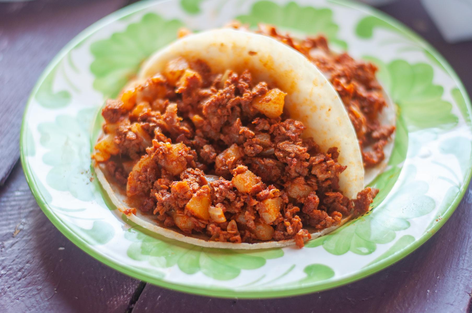 Soy Chorizo and Potato Tacos