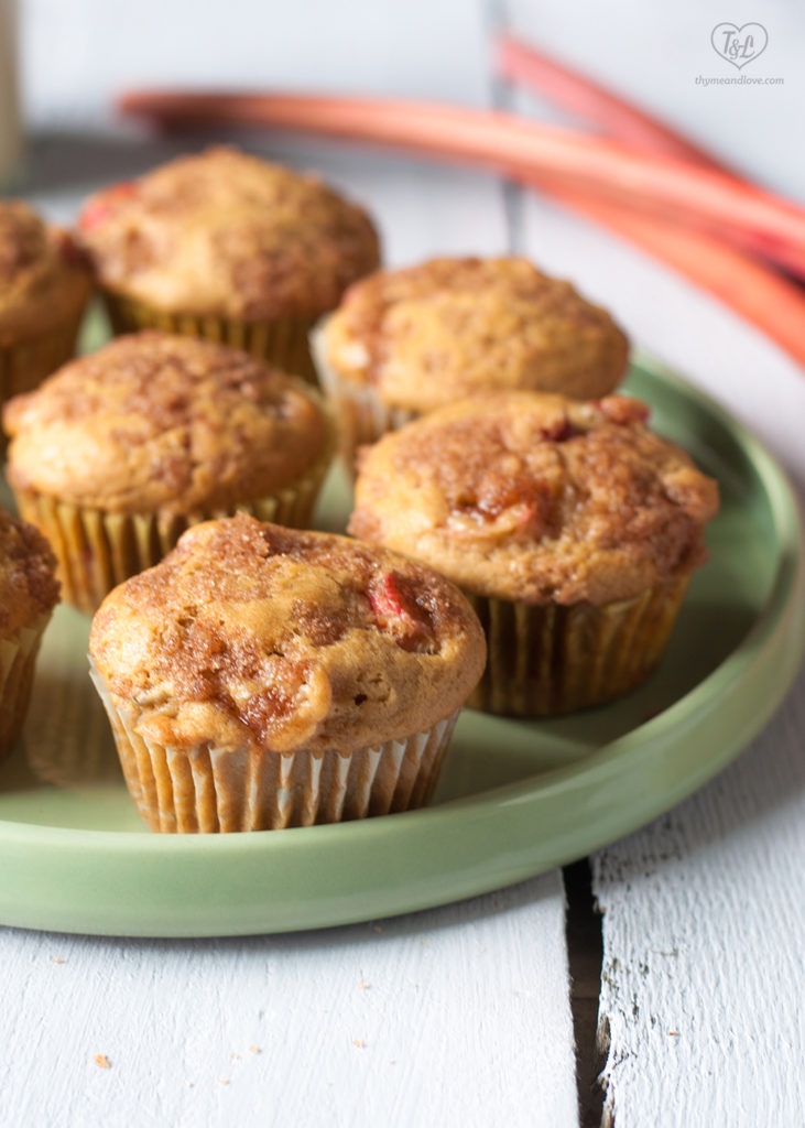 These Vegan Rhubarb Muffins are a light, tender muffin bursting with slices of rhubarb.
