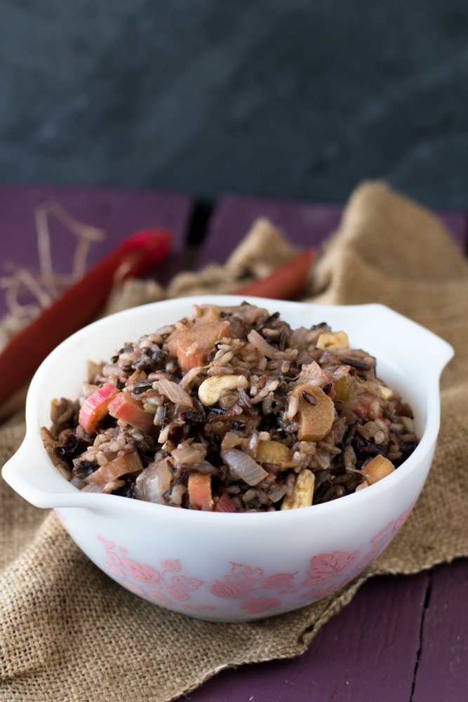 The natural tartness of the rhubarb pairs nicely with the nuttiness of the wild rice. This side dish is great served warm, at room temperature or cold.