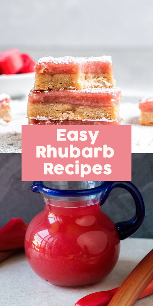 Rhubarb can be used in so many different recipes! This round-up of easy rhubarb recipes will show you some fun, new creative ways to cook rhubarb! #spring #recipes #easyrecipes #rhubarb #dessert #drinks #breakfast