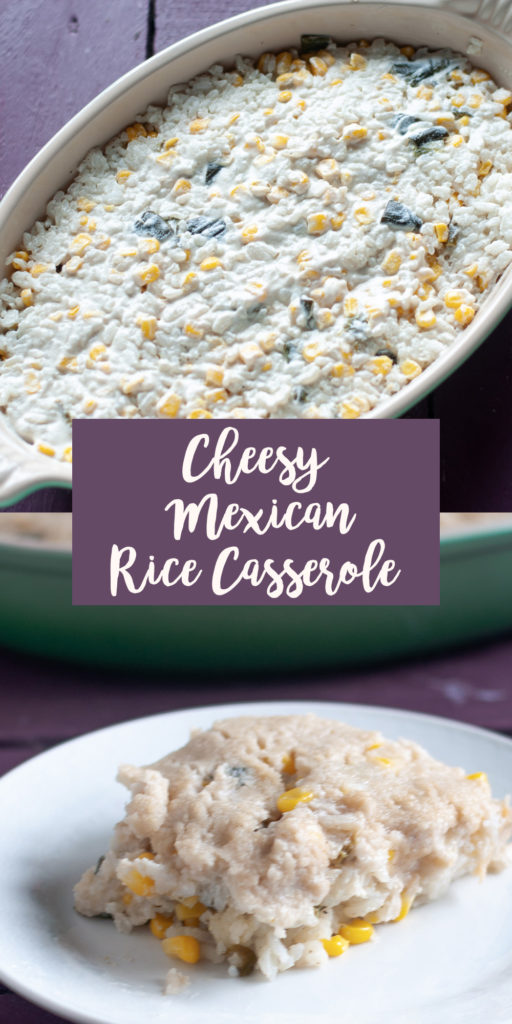 Cheesy Vegan Mexican Rice Casserole with roasted poblano peppers and corn is topped with crema and mozzerella cheese. This is such a delicious casserole side dish!  #vegan #rice #casserole #Mexican #food #side #vegancheese #VeganMexican #glutenfree