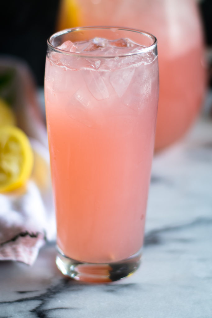 Light, refreshing lemonade made with rhubarb simple syrup. The perfect way too cool down on a hot summer day.