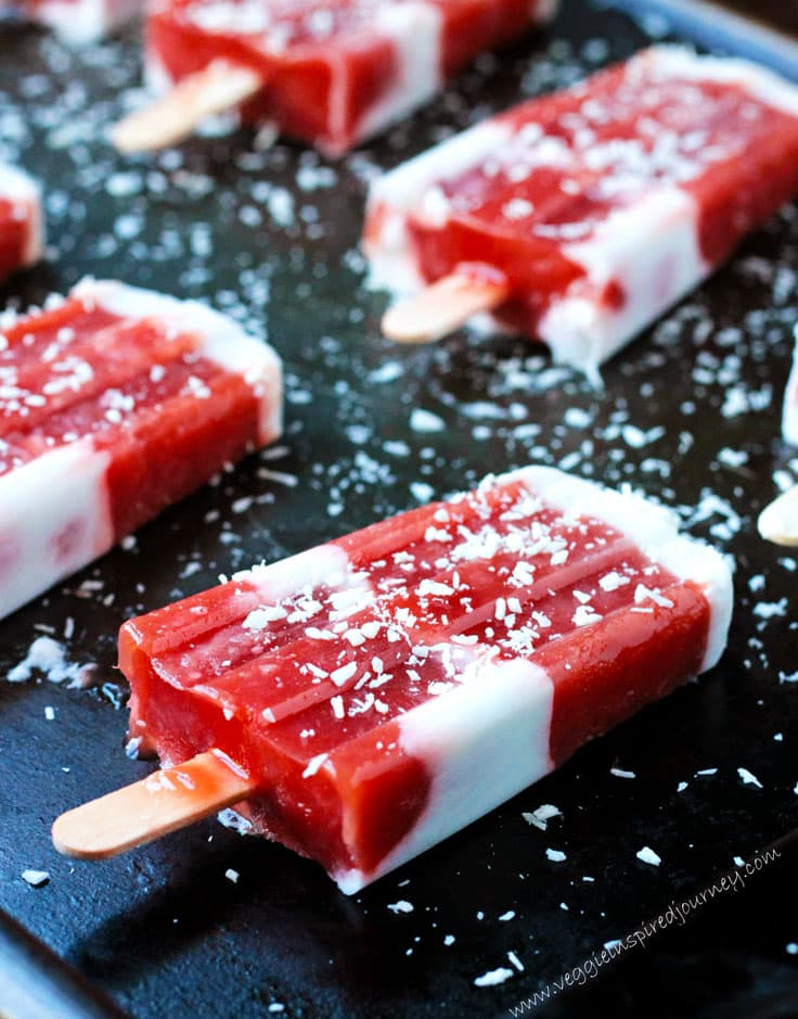 Strawberry Rhubarb Coconut Milk Popsicles – sweet, tart, creamy, and refreshing – these dairy free frozen treats will keep you cool all summer.