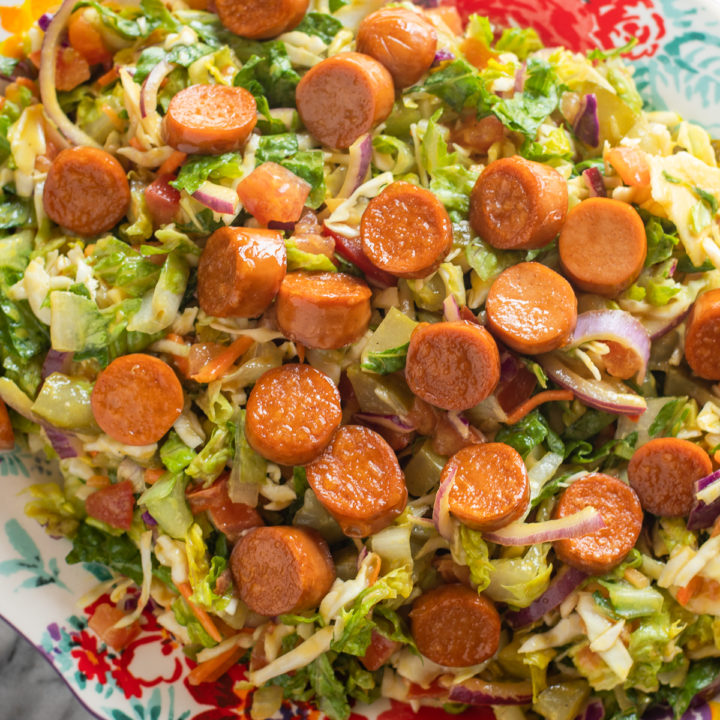 Vegan Hot Dog Salad is perfect for summer! This salad has all your favorite hot dog toppings minus the bun!