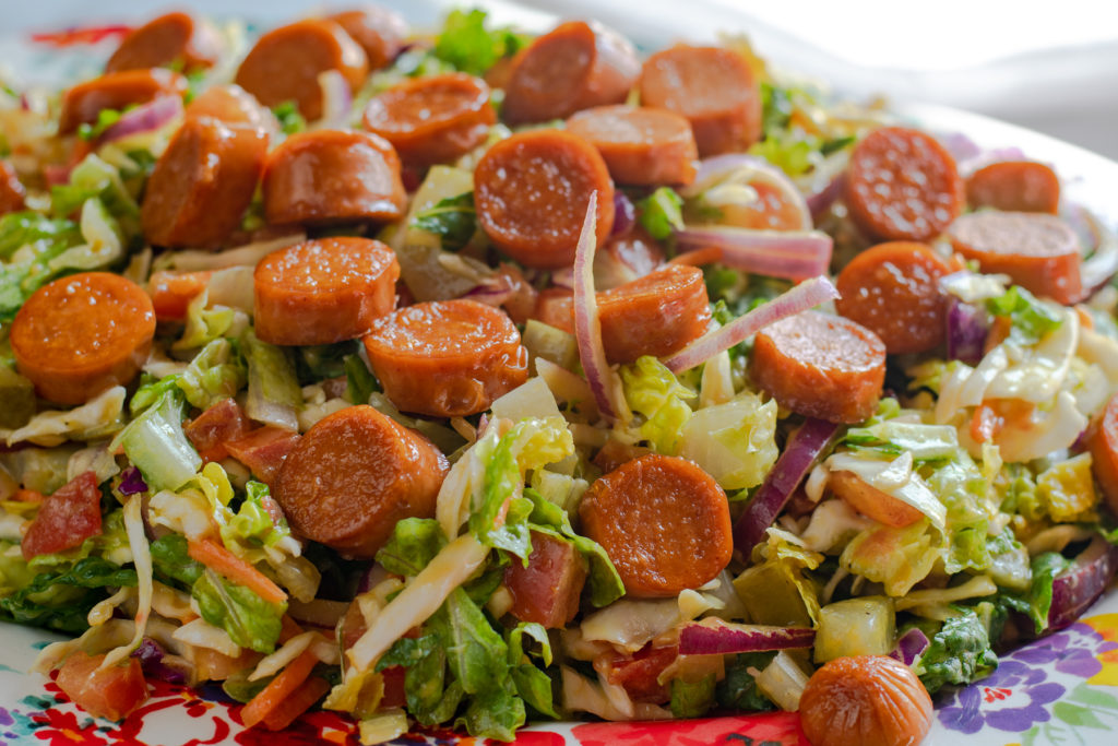 This Vegan Hot Dog Salad is loaded up with all your favorite traditional hot dog toppings!