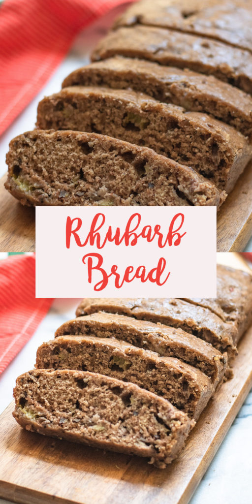 Take advantage of rhubarb season and make this light, tender spiced quick bread loaded with fresh rhubarb and nutty pecans. #bread #baking #recipe #vegan #dairyfree #rhubarb #breakfast #snack #dessert #veganrecipes #pecans #mealprep