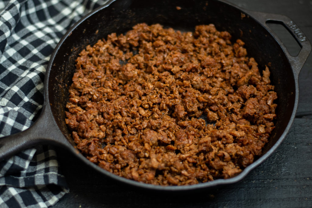 vegan ground beef made with beyond beef.
