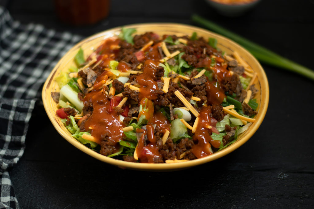 Vegan taco salad with homemade catalina dressing