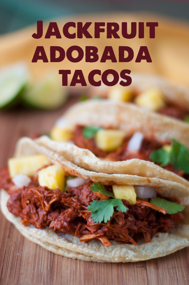 nspired by Mexican street tacos, these Slow Cooker Jackfruit Adobada Tacos are full of flavor. The combination of the chiles, orange juice, vinegar, and achiote paste adds such a unique flavor profile. #tacos #vegan #jackfruit #vegetarian #Mexican #VeganMexican #recipes #slowcooker #dinner #easyrecipes