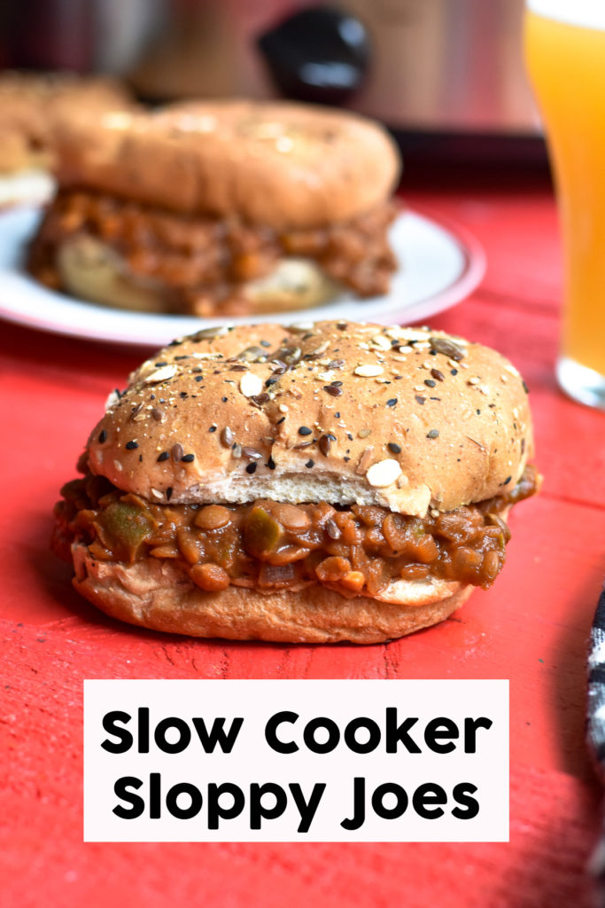 This recipe for Lentil Sloppy Joes couldn't be easier to make. The slow cooker does all the work for you, making this recipe perfect for an easy dinner. #slowcooker #crockpot #plantbased #oilfree #vegan #lentils #sloppyjoes #vegetarian