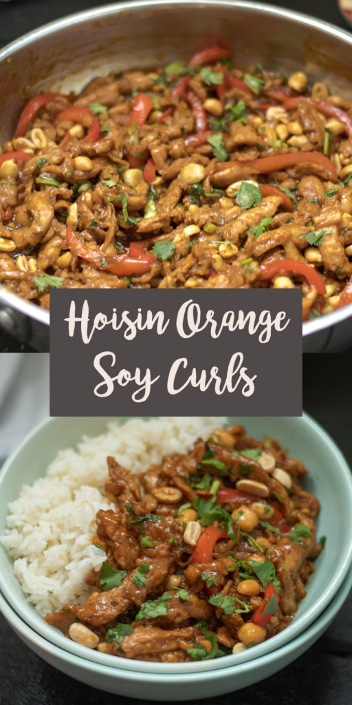 This recipe for Hoisin Orange Soy Curls comes together quicker than getting take-out! This is perfect for an easy weeknight meal. You only need a few ingredients to whip up this better-than-takeout inspired meal. Plus, it's made from pantry-friendly ingredients, making it ideal for a fuss-free dinner. #dinner #vegan #soycurls #vegan #vegetarian #recipe #hoisin #orange #entree