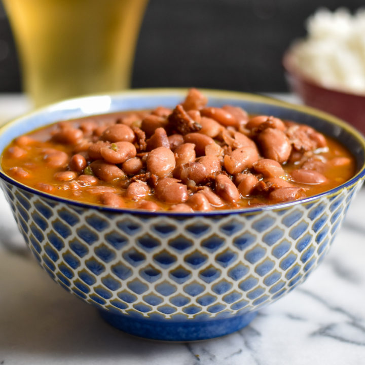 Mexican Instant Pot Vegan Frijoles Borrachos, also know as drunken beans, are an inexpesive bean recipe that is great for meal prep.