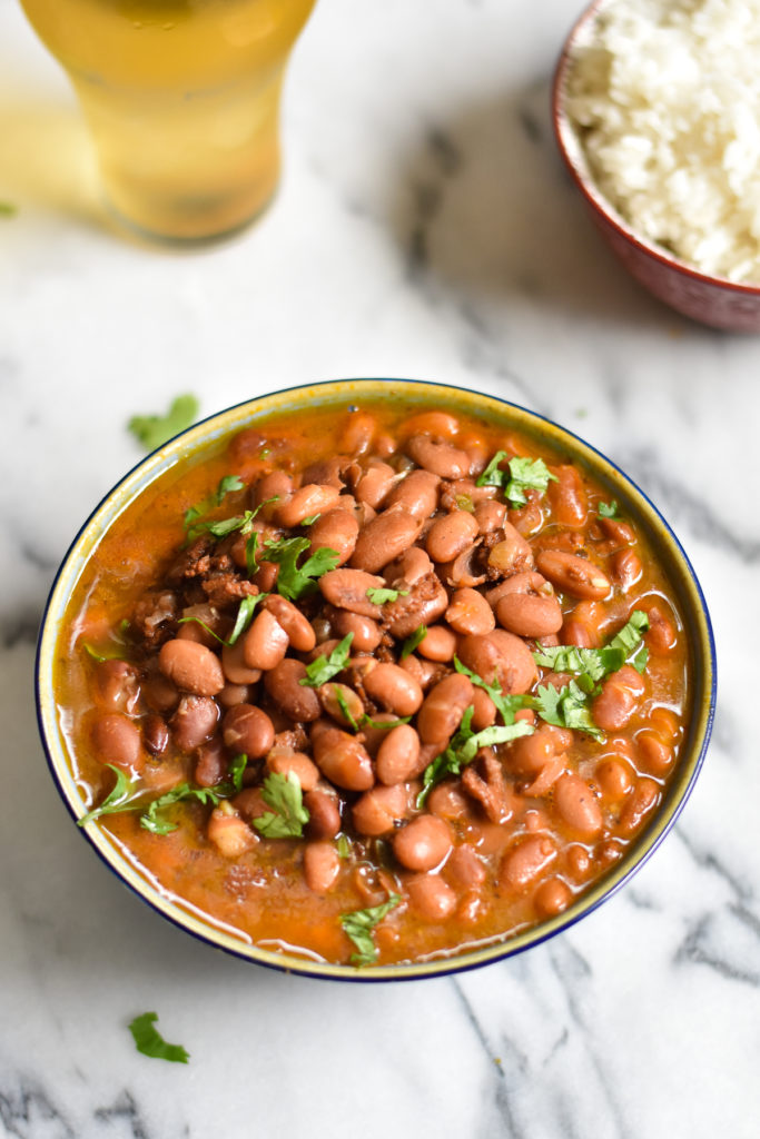 Mexican Instant Pot Vegan Frijoles Borrachos, also know as drunken beans, are an inexpesive bean recipe that is great for meal prep. #InstantPot #Mexican #beans #frijoles #VeganMexican