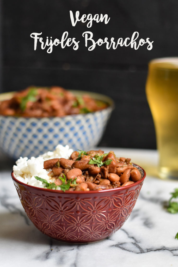 Looking to elevate your basic pinto beans? This recipe for Frijoles Borrachos will take pinto beans to the next level! Pinto beans are simmered in beer and spices. #pintobeans #beans #vegan #frijolesborrachos #veganMexican #Vegan #Mexican #budgetfriendly #recipes #frijoles