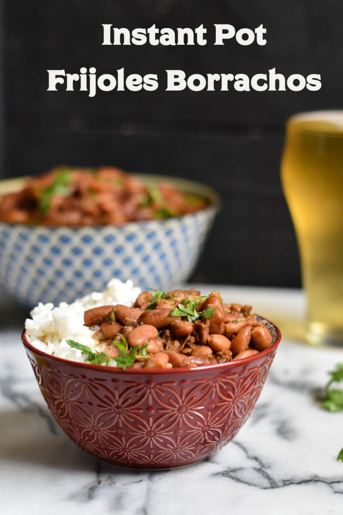 Mexican Instant Pot Vegan Frijoles Borrachos, also know as drunken beans, are an inexpensive bean recipe that is great for meal prep. #beans #Mexican #frijoles #VeganMexican #InstantPot #recipes