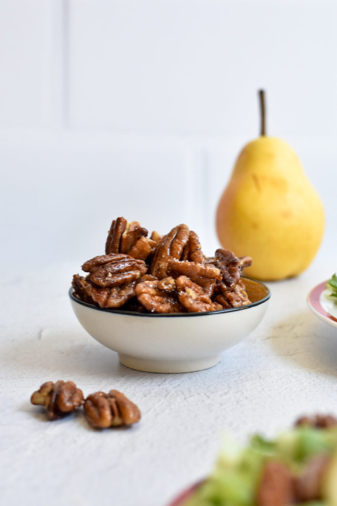 Candied pecans are the perfect addition to salads!