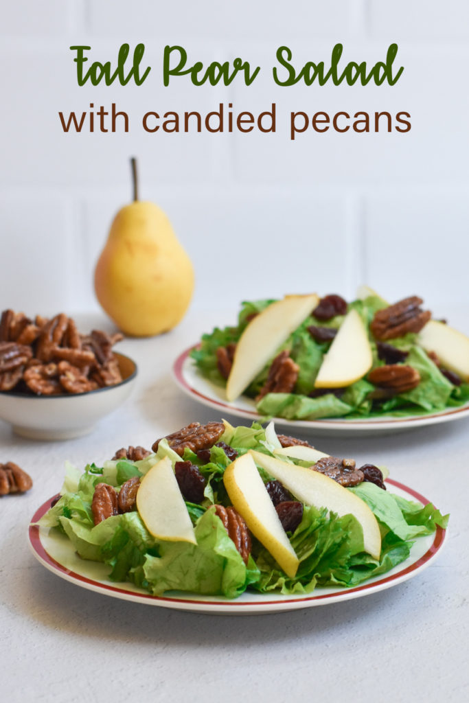 This fall inspired pear salad with candied pecans and balsamic vinaigrette is slightly sweet, tart and perfect for fall entertaining. #salad #Thanksgiving #fall #pear #pecans #dressing #vegan #vegetarian #recipes #holiday #Christmas
