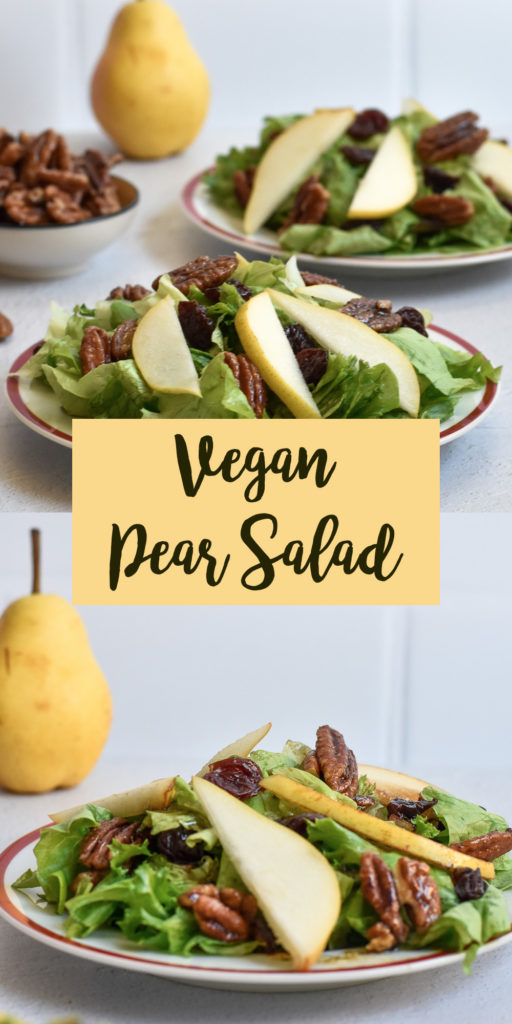 This pear salad with candied pecans and balsamic vinaigrette would be a great addition to your Thanksgiving menu too. I definitely plan on making this salad for my family this Thanksgiving!  #recipes #salad #pear #vegan #Thanksgiving #food #holiday #Christmas #pecans #veganthanksgiving